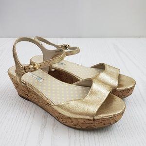 Boden Gold Metallic Wedge Platform Sandal Open Toe